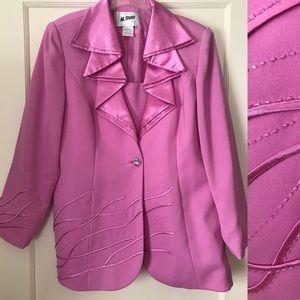 Vintage 1980's Ruffled Beaded Blazer Pastel Purple